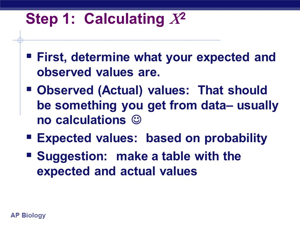 Step 1: Calculating 2 First, determine what your expected and observed values are.