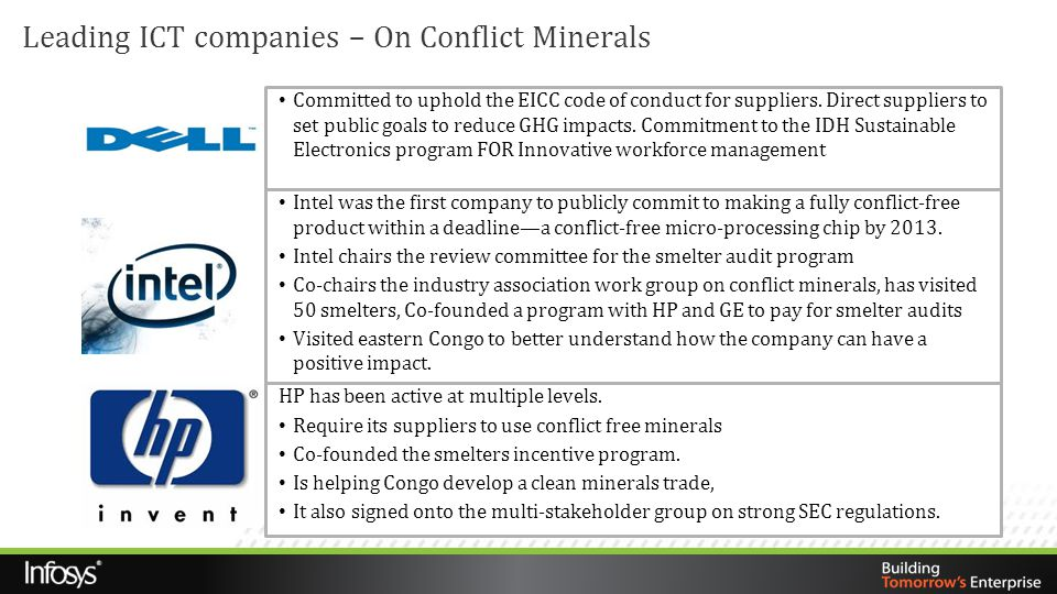 Leading ICT companies – On Conflict Minerals