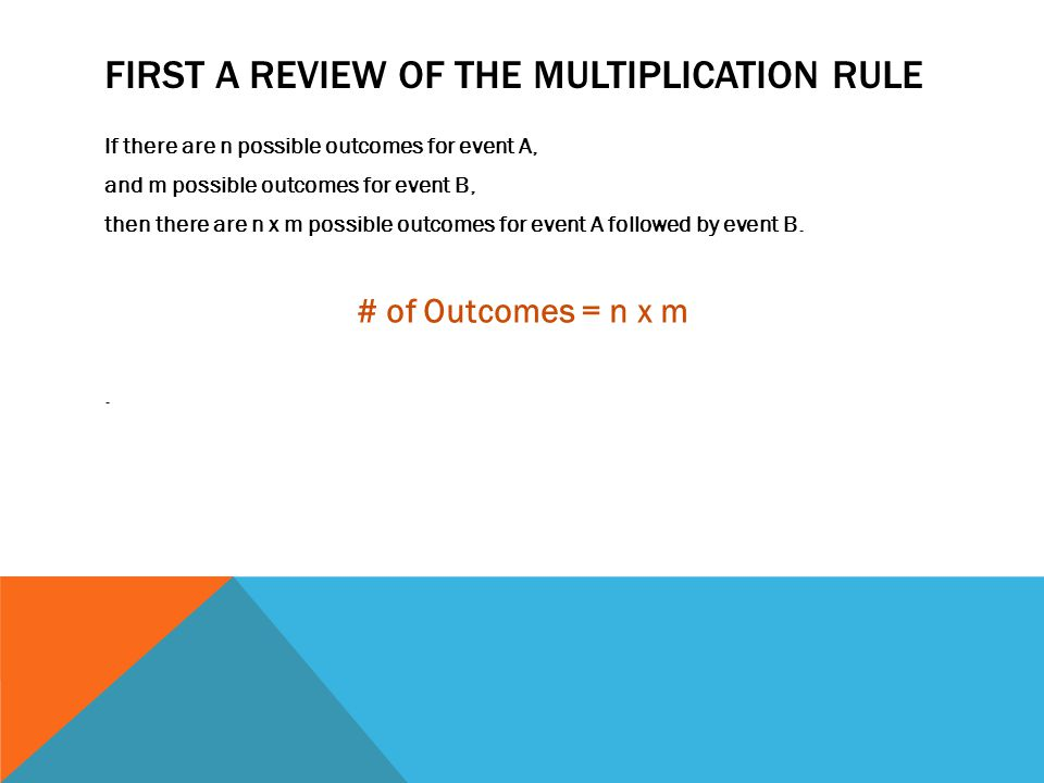 First A review of the Multiplication Rule