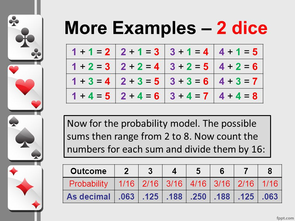 More Examples – 2 dice 1 + 1 = 2. 2 + 1 = 3. 3 + 1 = 4. 4 + 1 = 5. 1 + 2 = 3. 2 + 2 = 4. 3 + 2 = 5.