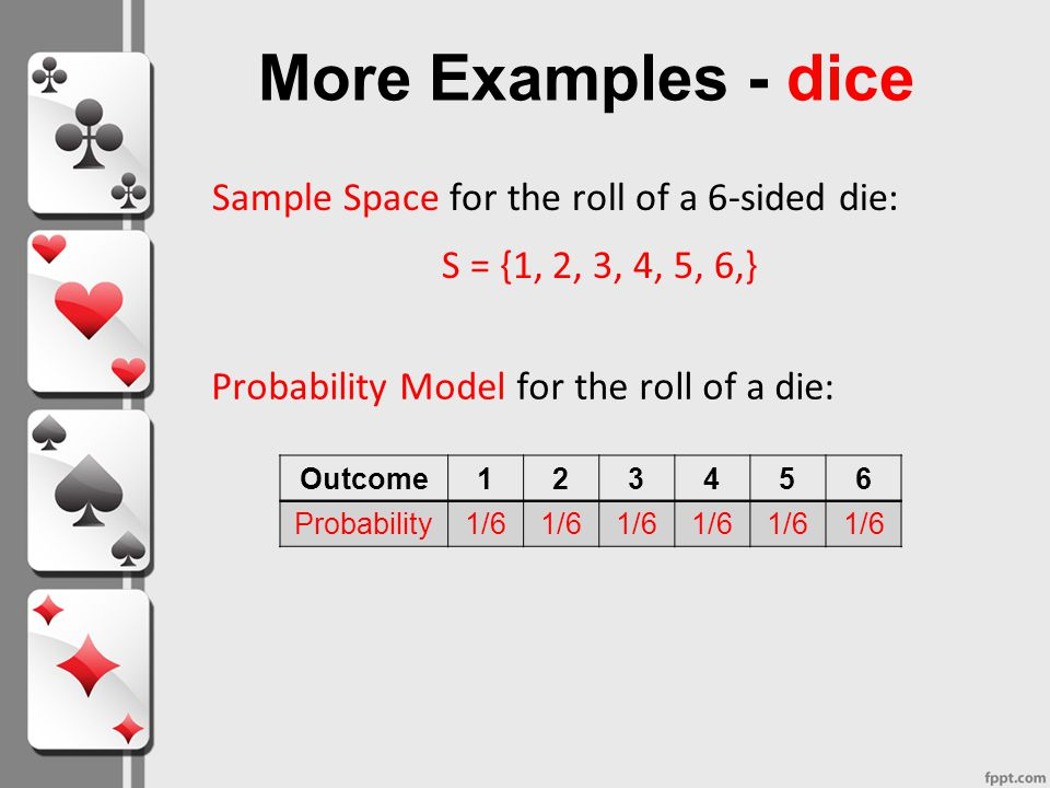 More Examples - dice Sample Space for the roll of a 6-sided die: S = {1, 2, 3, 4, 5, 6,} Probability Model for the roll of a die: