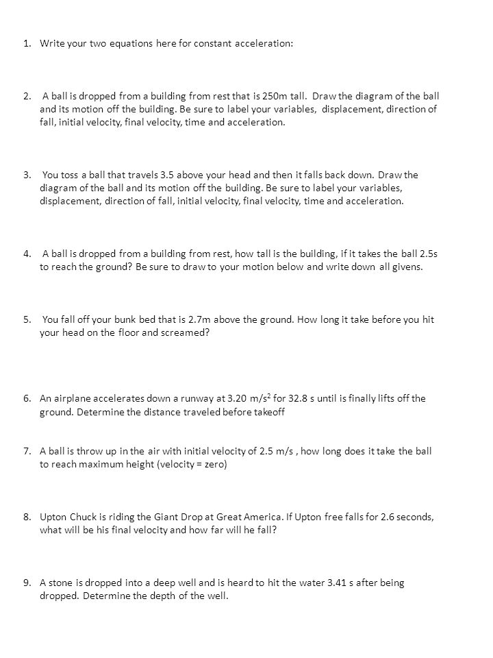 Free Fall and the Acceleration of Gravity Worksheet ppt download – Velocity and Acceleration Worksheet