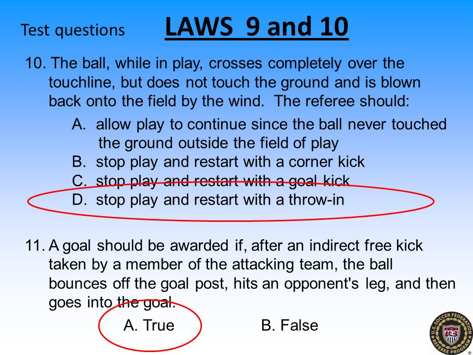 Test questions LAWS 9 and 10