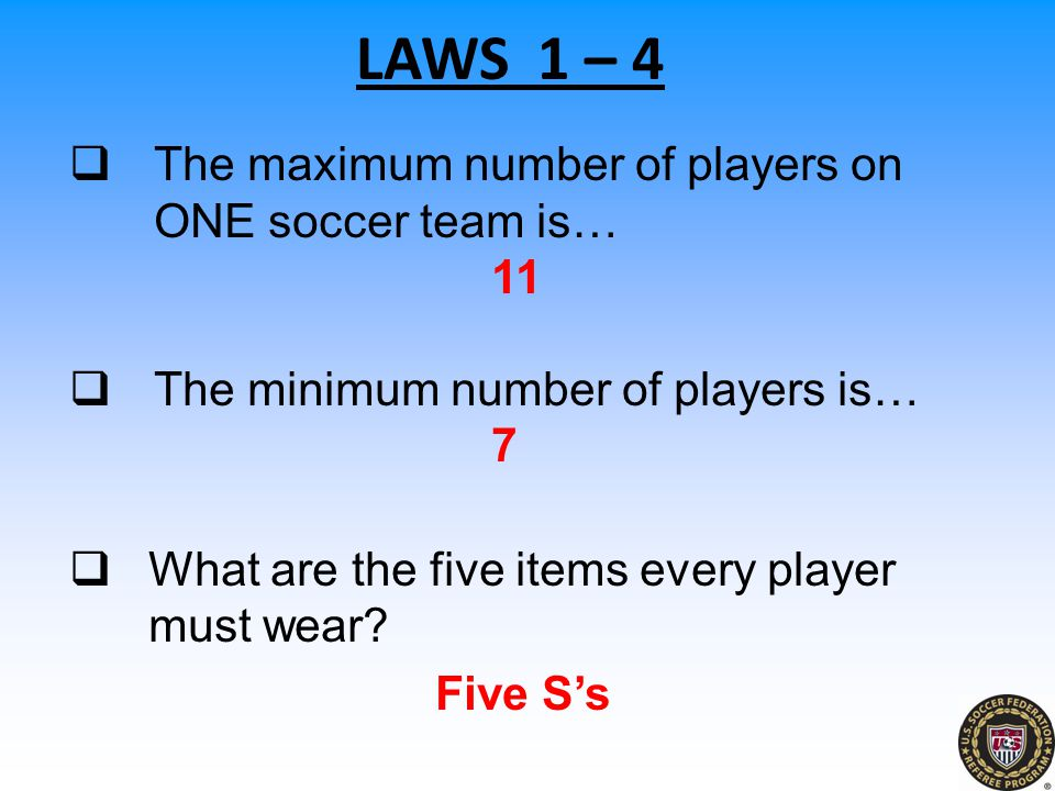 LAWS 1 – 4 The maximum number of players on ONE soccer team is… 11