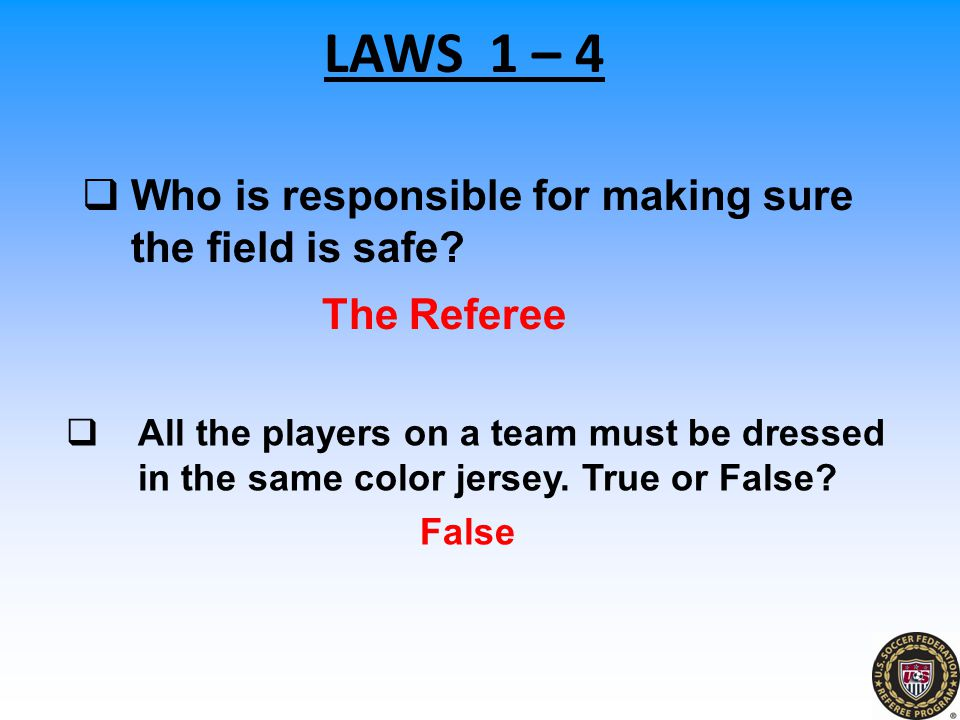 Who is responsible for making sure the field is safe The Referee
