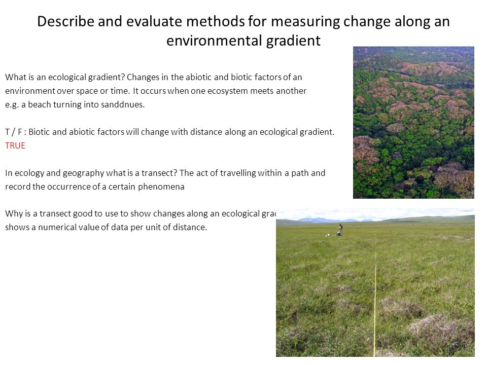 Describe and evaluate methods for measuring change along an environmental gradient