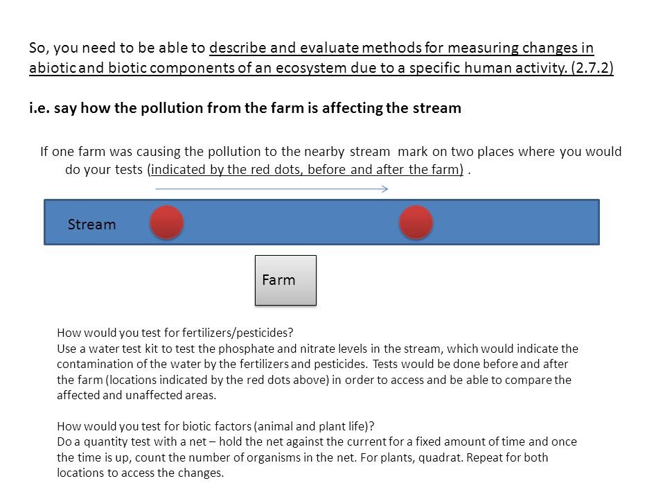 So, you need to be able to describe and evaluate methods for measuring changes in abiotic and biotic components of an ecosystem due to a specific human activity. (2.7.2) i.e. say how the pollution from the farm is affecting the stream