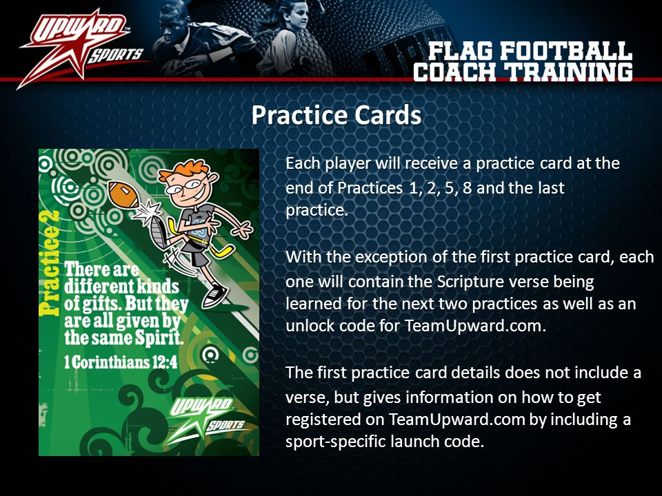 Practice Cards Each player will receive a practice card at the end of Practices 1, 2, 5, 8 and the last practice.