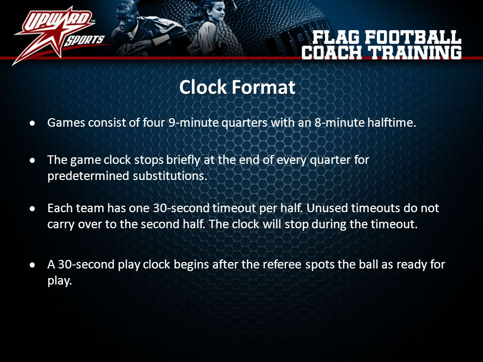 Clock Format Games consist of four 9-minute quarters with an 8-minute halftime.