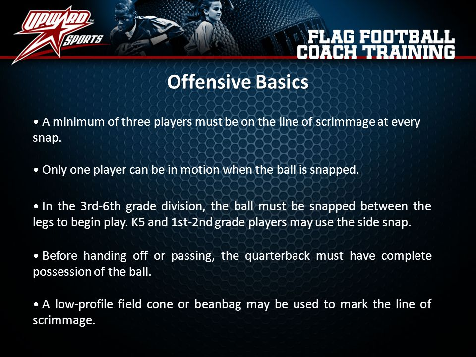 Offensive Basics A minimum of three players must be on the line of scrimmage at every snap.