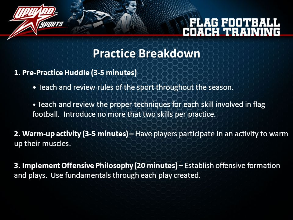 Practice Breakdown 1. Pre-Practice Huddle (3-5 minutes)