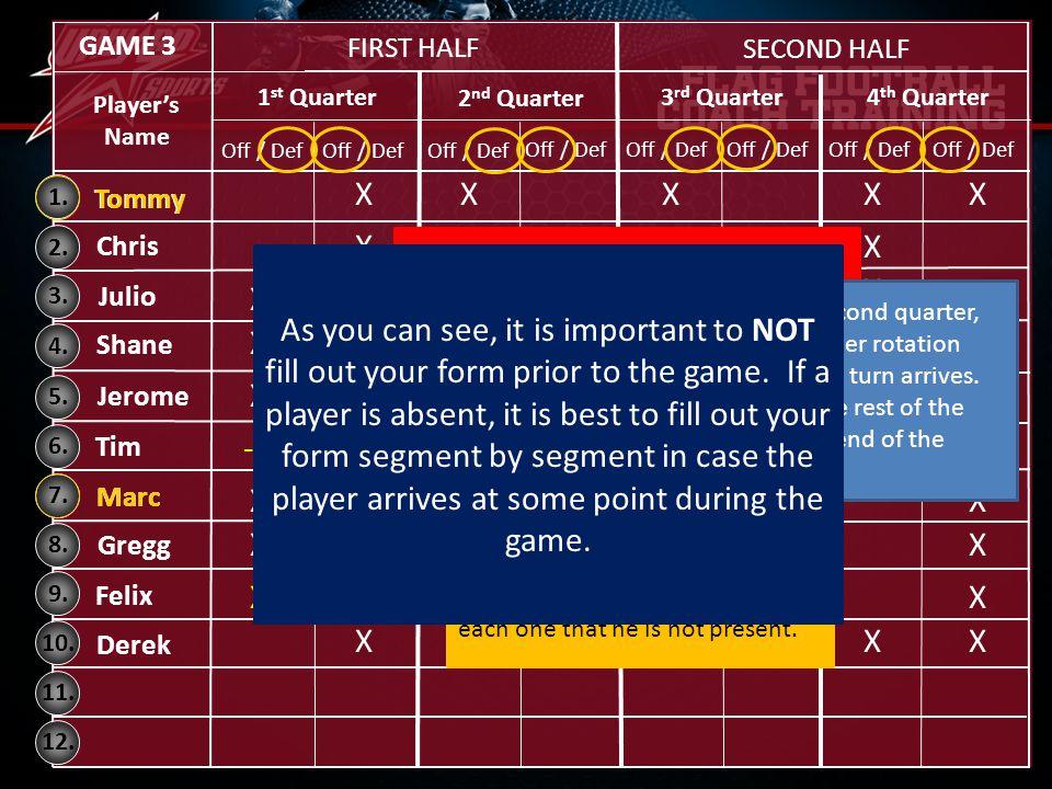 GAME 3 FIRST HALF. SECOND HALF. 1st Quarter. 2nd Quarter. 3rd Quarter. 4th Quarter. Player's Name.