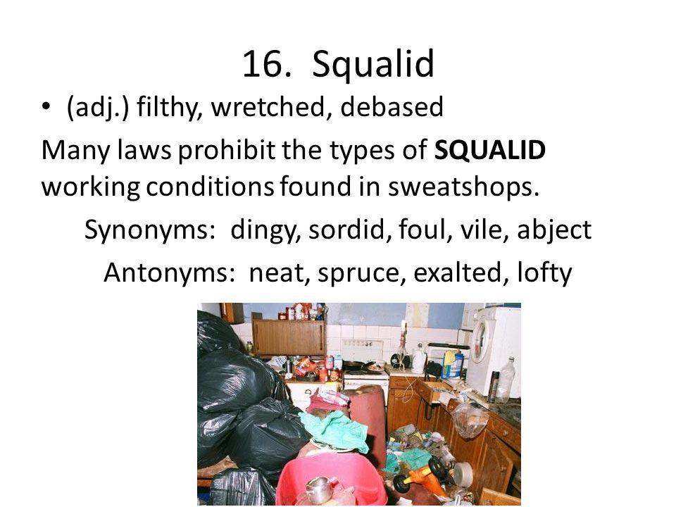 16. Squalid (adj.) filthy, wretched, debased