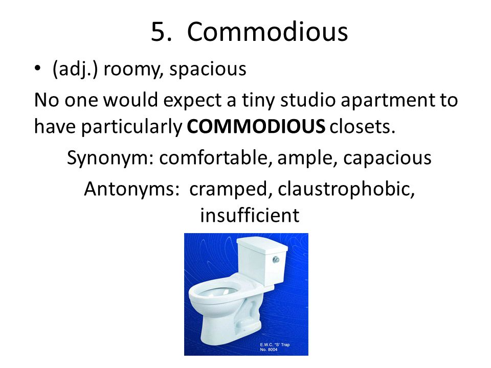 5. Commodious (adj.) roomy, spacious