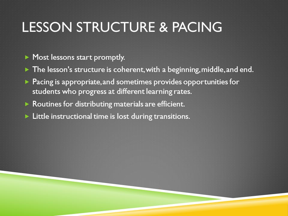 Lesson structure & pacing