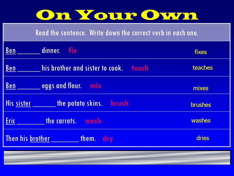On Your Own Read the sentence. Write down the correct verb in each one. Ben _____ dinner. fix.