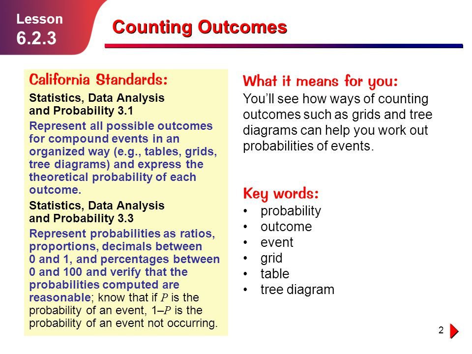 Counting Outcomes 6.2.3 California Standards: What it means for you: