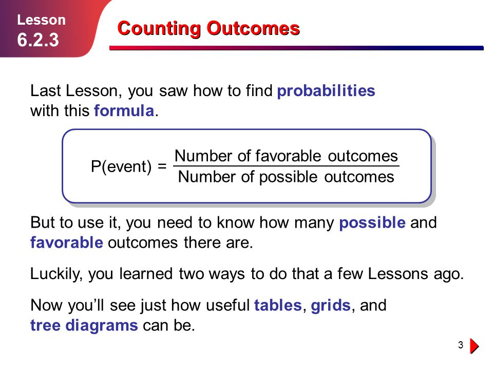 Lesson 6.2.3. Counting Outcomes. Last Lesson, you saw how to find probabilities with this formula.