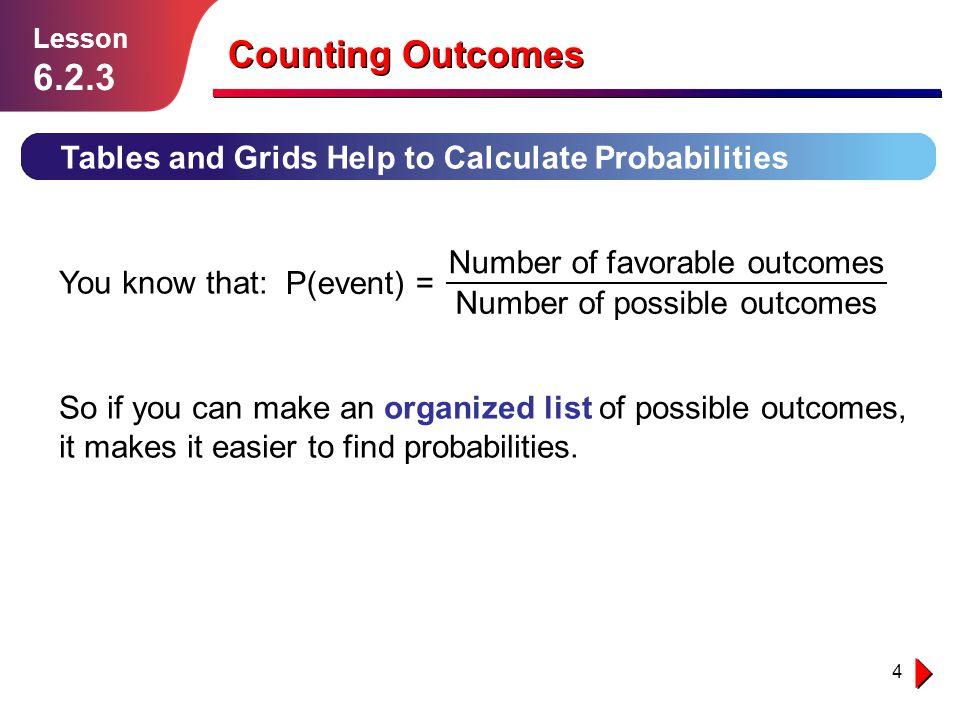 Lesson 6.2.3. Counting Outcomes. Tables and Grids Help to Calculate Probabilities. P(event) = Number of favorable outcomes.