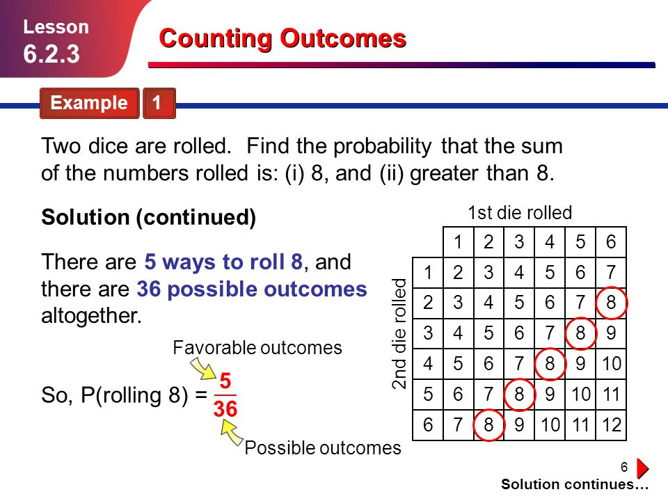 Lesson 6.2.3. Counting Outcomes. Example 1.