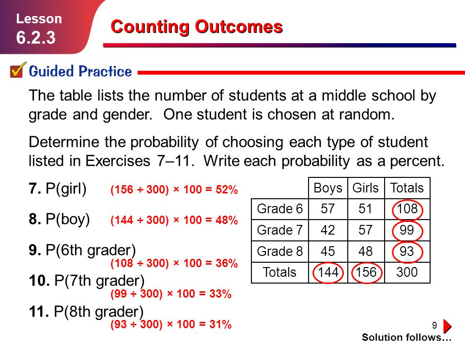 Counting Outcomes 6.2.3 Guided Practice