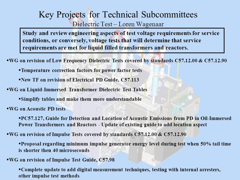 Key Projects for Technical Subcommittees Dielectric Test – Loren Wagenaar