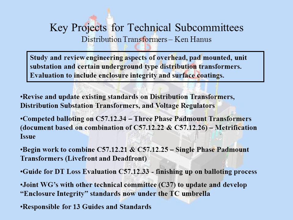 Key Projects for Technical Subcommittees Distribution Transformers – Ken Hanus