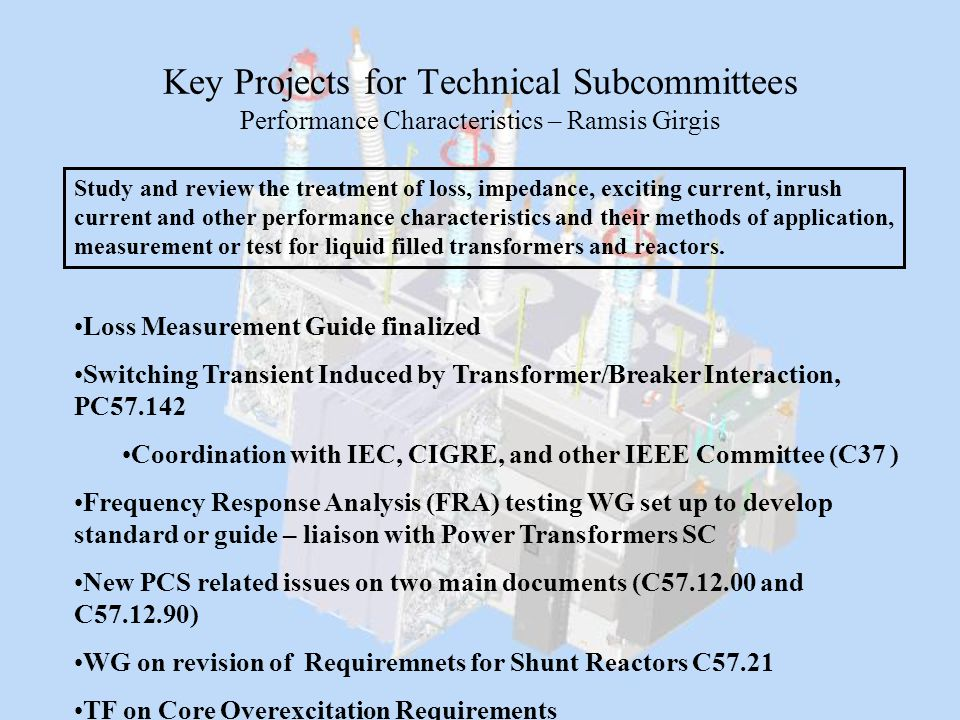 Key Projects for Technical Subcommittees Performance Characteristics – Ramsis Girgis