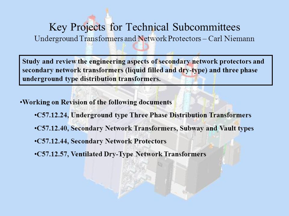 Key Projects for Technical Subcommittees Underground Transformers and Network Protectors – Carl Niemann