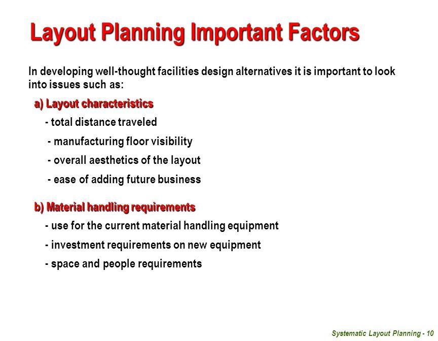 Layout Planning Important Factors
