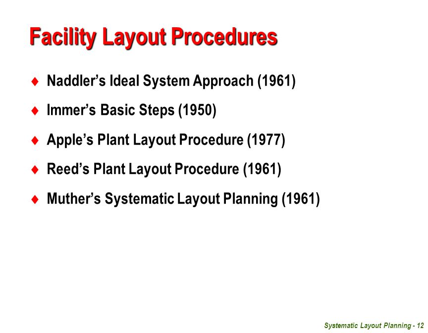Facility Layout Procedures