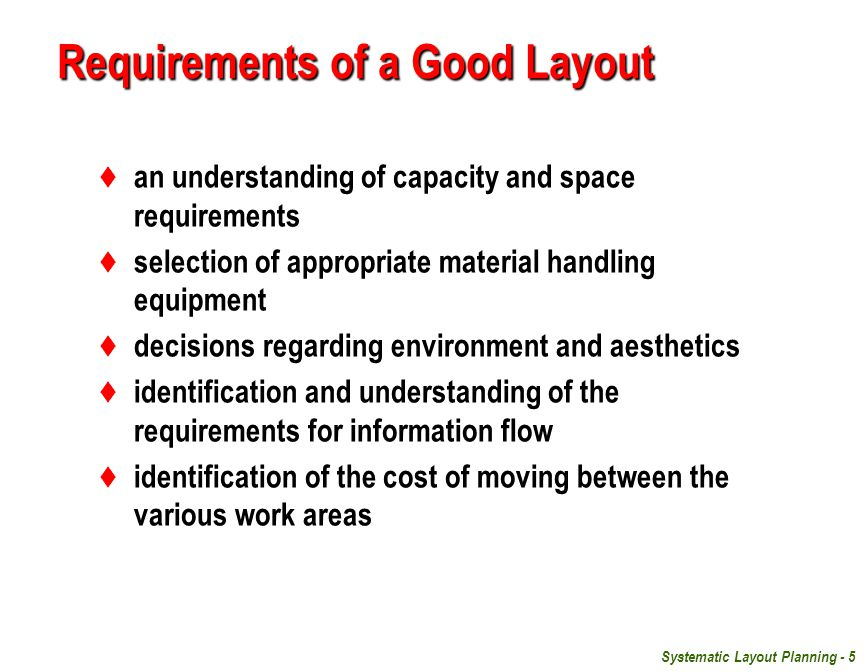 Requirements of a Good Layout