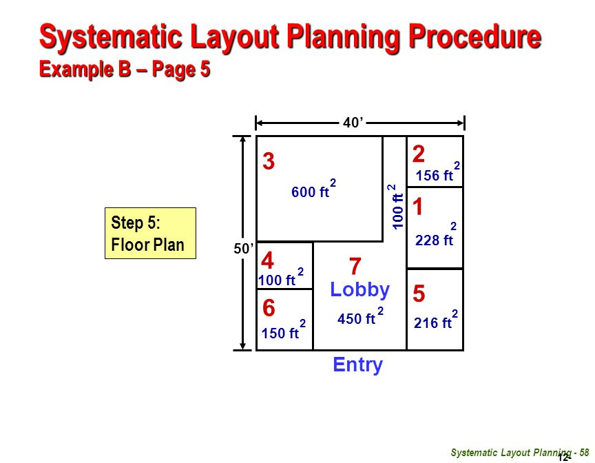 Systematic Layout Planning Procedure Example B – Page 5