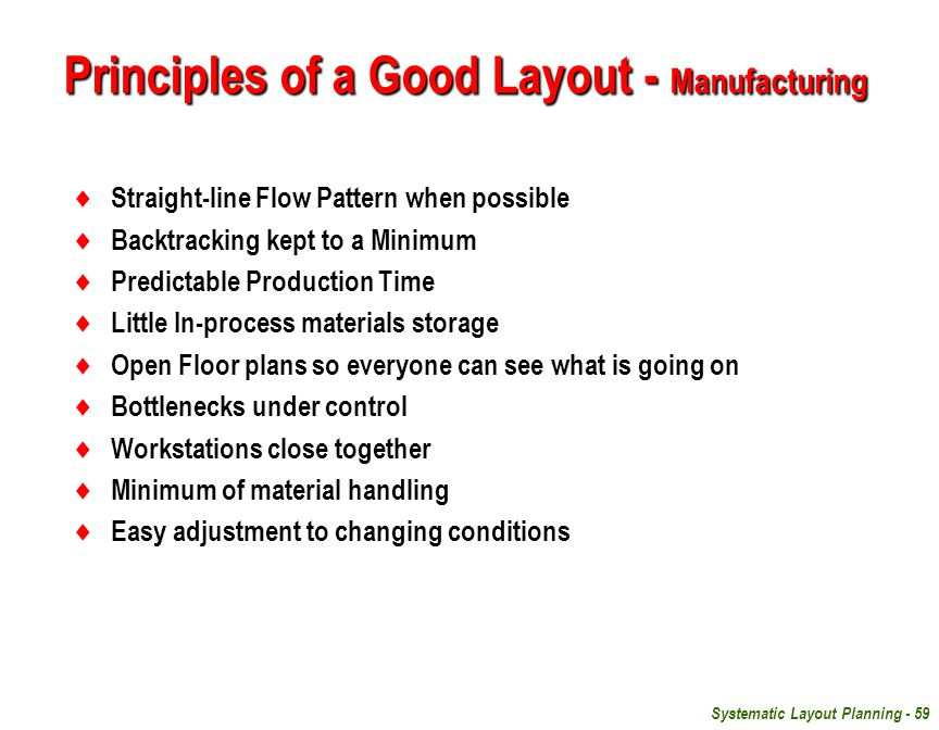 Principles of a Good Layout - Manufacturing