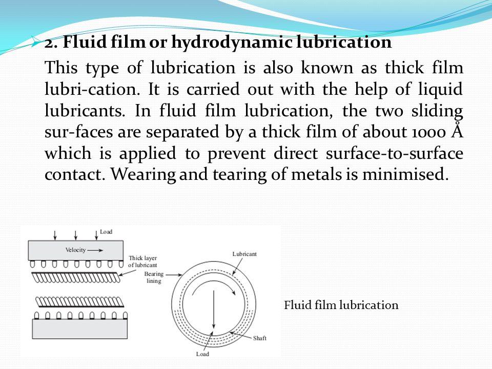 2. Fluid film or hydrodynamic lubrication