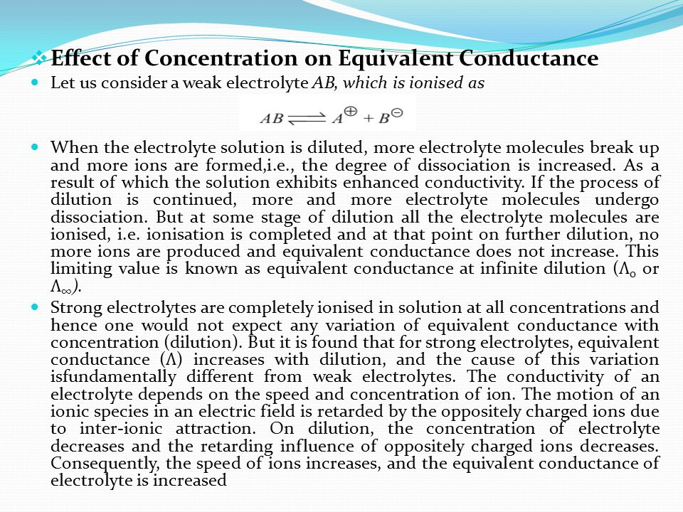 Effect of Concentration on Equivalent Conductance