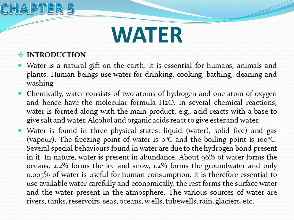 WATER CHAPTER 5 INTRODUCTION