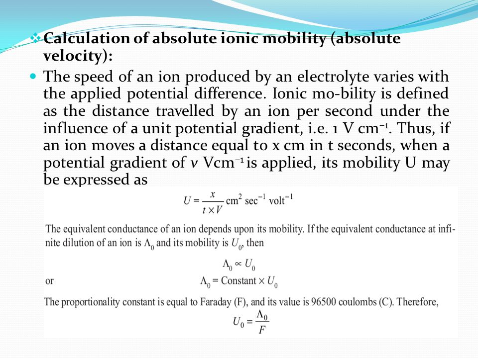 Calculation of absolute ionic mobility (absolute velocity):