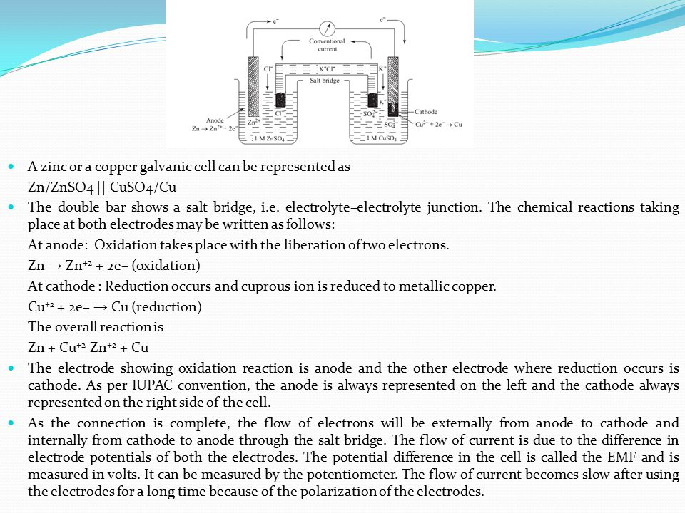A zinc or a copper galvanic cell can be represented as