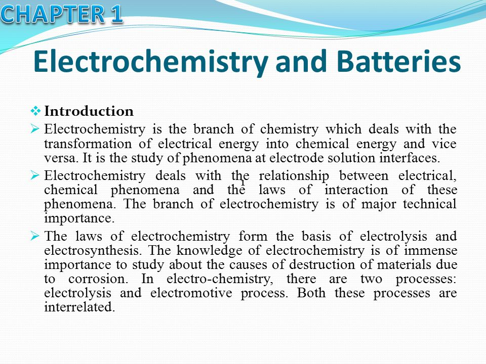 Electrochemistry and Batteries