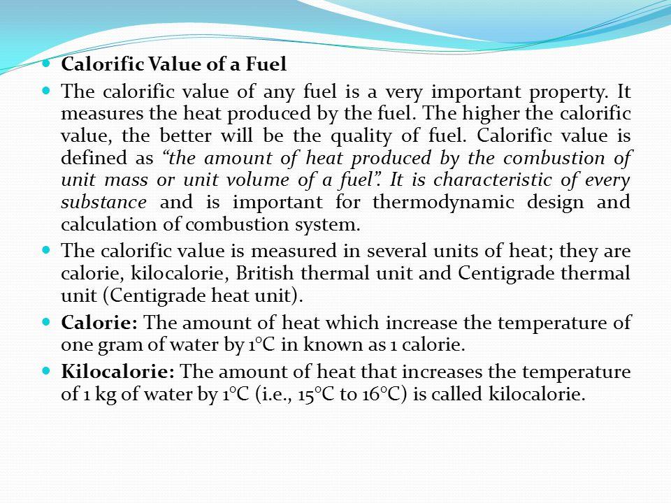Calorific Value of a Fuel