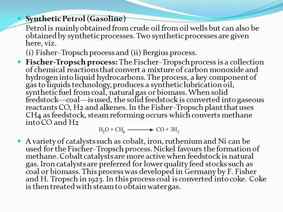 Synthetic Petrol (Gasoline)