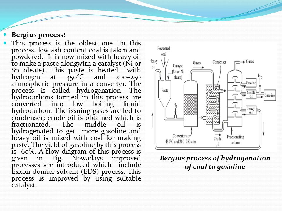 Bergius process of hydrogenation of coal to gasoline