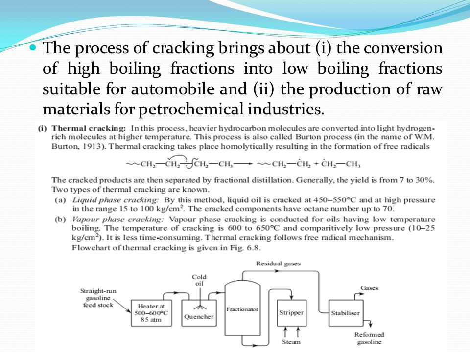 The process of cracking brings about (i) the conversion of high boiling fractions into low boiling fractions suitable for automobile and (ii) the production of raw materials for petrochemical industries.