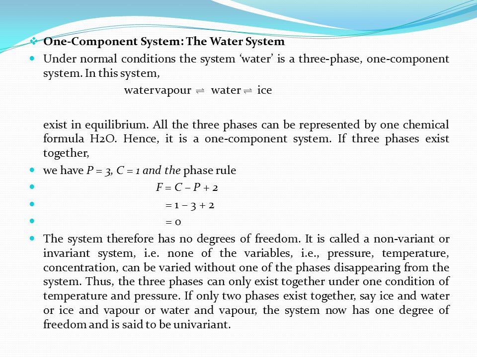 One-Component System: The Water System