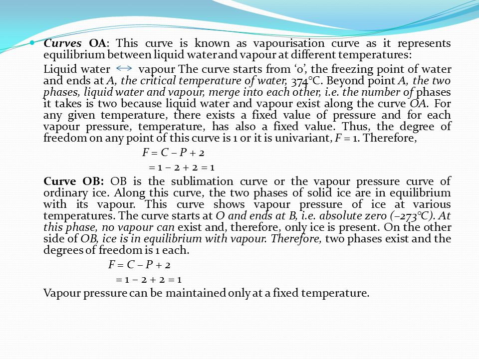 Curves OA: This curve is known as vapourisation curve as it represents equilibrium between liquid water and vapour at different temperatures: