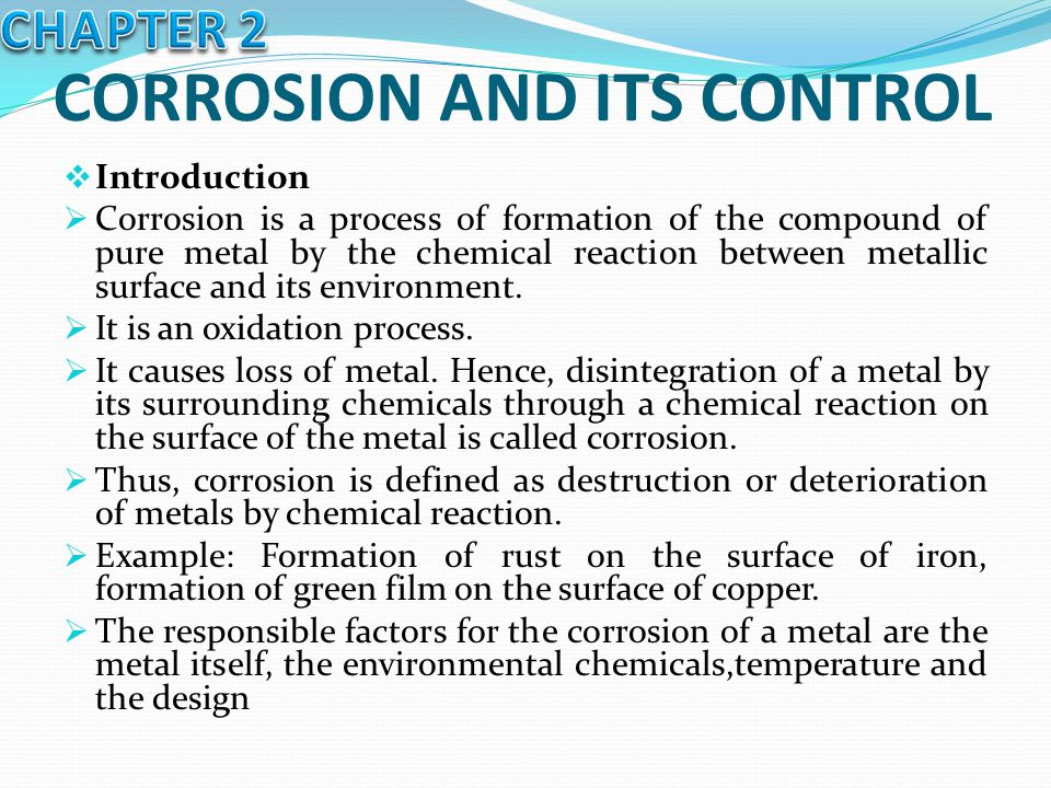 CORROSION AND ITS CONTROL