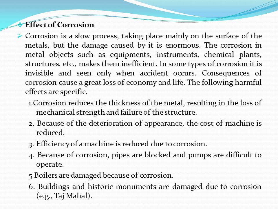 Effect of Corrosion