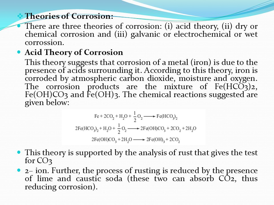 Theories of Corrosion: