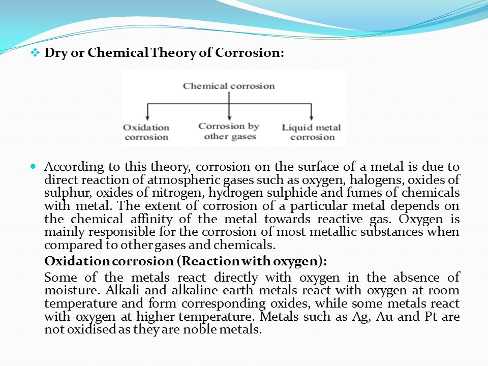 Dry or Chemical Theory of Corrosion: